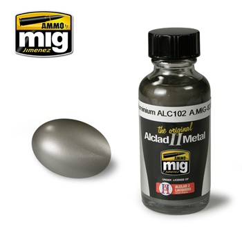 Pintura metálica color aluminio oscuro, 30ml.