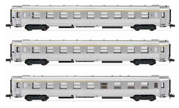 Set de tres coches SNCF DEV Inox Train Rapide.
