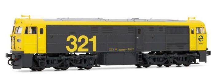Locomotora 321.025 amarilla-gris. Digital.
