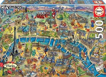 Mapa de París. Puzzle de 500 piezas.