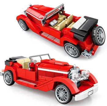 Coche clásico color rojo, 318 piezas.