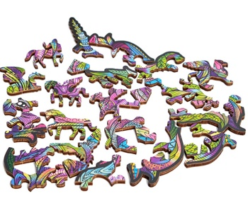 Unicornio púrpura, puzzle de madera.