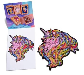 Unicornio color rosa, puzzle 21 piezas.