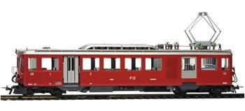 Vagón portaequipajes tipo BDeh 2/4 43 en rojo oscuro de la FO, época I