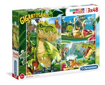 3 puzzles de 48 piezas DINOSAURIOS.