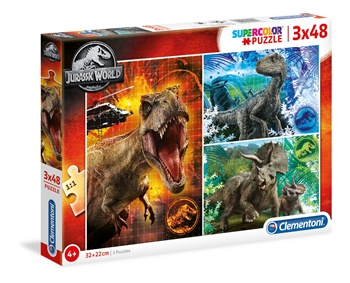 Jurassic World 3 puzzles de 48 piezas.