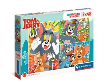 Tom y Jerry, 3 puzzles de 48 piezas.