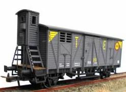 Vagón cerrado J-301799 con garita elevada gris TE.