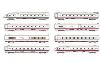 AVE S-103 RENFE, set completo de 8 unidades, época VI. Escala N.