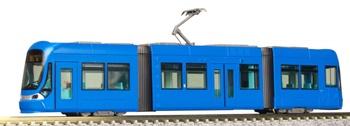Tranvía de color azul. Escala N