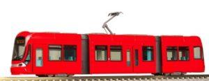 Tranvía color rojo. DIgital.