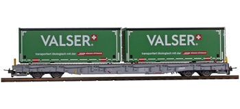 Vagón RhB R-w 8380 con contenedores Valser.