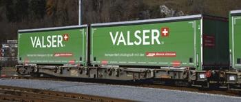 Vagón RhB R-w 8384 con contenedores Valser. Escala HOm.
