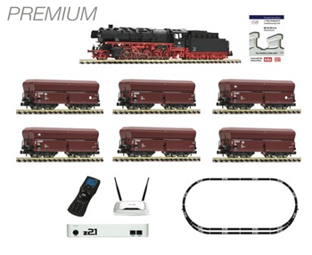 Set Iniciación Premium z21: locomotora vapor+vagones+circuito vías+z21